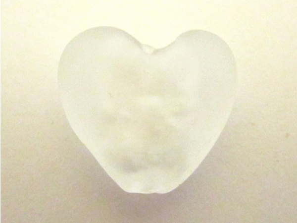 Frosted foil bead heart small white FH0153