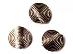 spiral pattern coin antique silver plated JLF0204