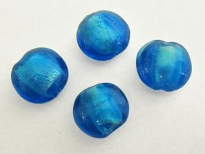Foil bead coin dark turquoise FH0004