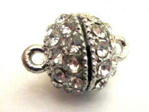 Magnet clasp ball with rhinestones AS