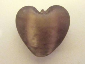Frosted foil bead heart small light plum FH0156