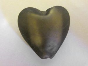 Frosted foil bead heart small smokey grey  FH0157