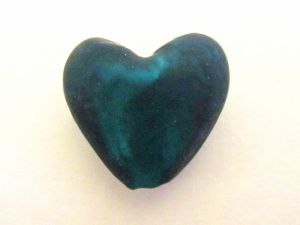Frosted foil bead heart small dark petroleum FH0159