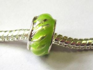 Enamelled metal bead lime big hole
