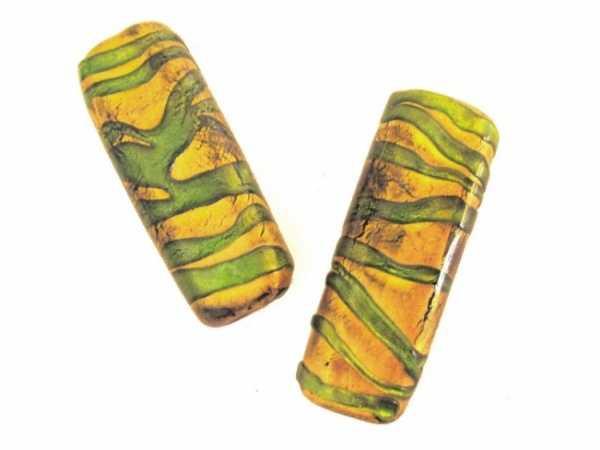 Foil bead rectangle stripy green-gold big (2kpl)
