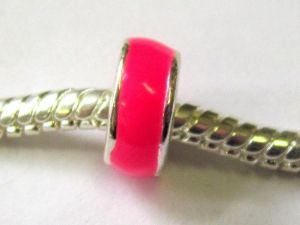 Enamelled metal bead pink big hole