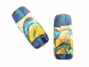 Foil bead rectangle pattern  turquoise (2pcs)