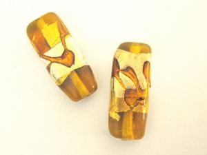 Foil bead rectangle pattern  amber (2pcs)
