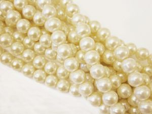 Glass pearl 12mm creamy white