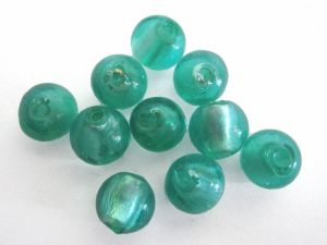 Foil bead 10mm green FH0148