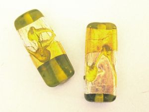 Foil bead rectangle pattern  lime (2pcs)