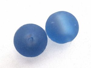 Frosted foil bead 14mm light blue FH0133