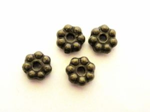 Copper coated bead rondelle flower M