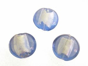 Foil bead coin  light blue (3pcs) FH0018