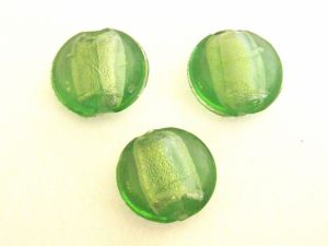 Foil bead coin light green (3pcs) FH 0021