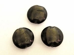 Foil bead coin dark  smokey grey  (3pcs) FH0025