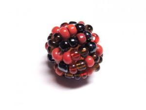 Bead made of seed beads red-black