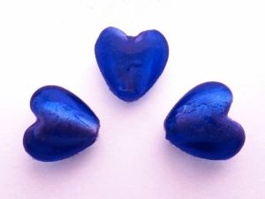 Foil bead heart small cobalt blue FH0071