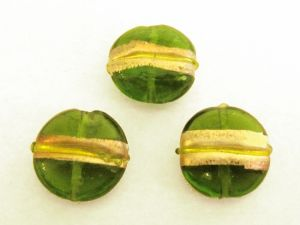 Foil bead coin stripe GreenFH0037