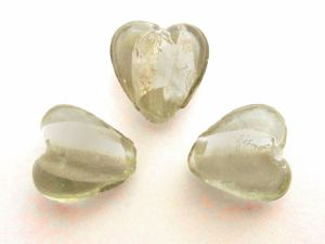 Foil bead heart small light smokey grey  FH0077