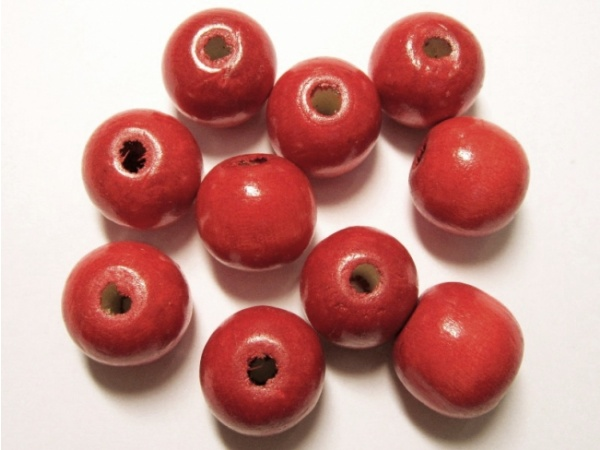 Wood bead red (17x18mm)