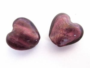 Foil bead heart (4pcs) plum FH0081