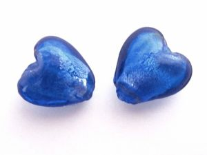 Foil bead heart (4pcs) blue FH0084