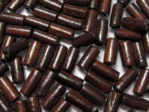 Wood bead tube 7x15mm dark brown