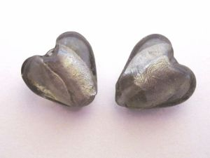 Foil bead heart (4pcs) light smokey grey  FH0089