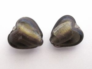Foil bead heart (4pcs) dark smokey grey  FH0090