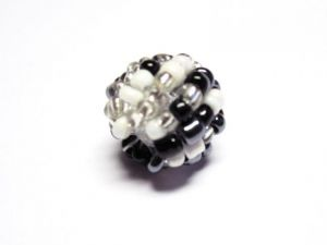 Bead made of seed beads black-white