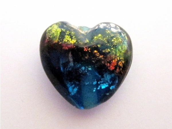 Foil bead Heart rainbow FH0103