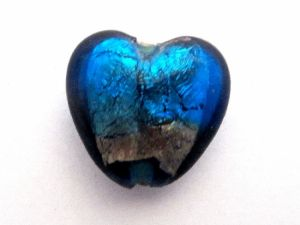 Foil bead heart turquoise-silver FH0104