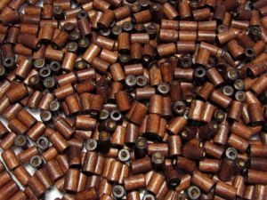Wood bead cylindrical 4x6mm dark brown