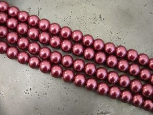 Glass pearl 6mm cranberry HL10
