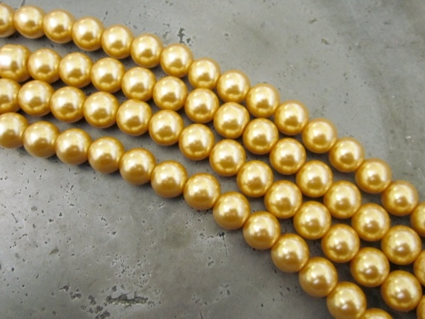 Glass pearl 6mm yellow HL13