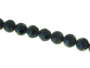 Glass bead 14mm black etched