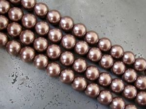 Glass pearl 6mm light brown HL16