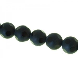 Glass bead 16mm black etched