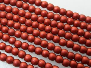 Czech glass bead 3mm matte red metallic (140pcs)