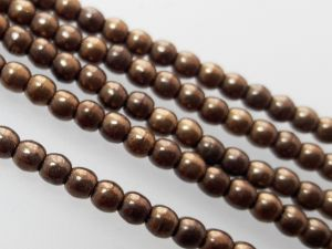 Czech glass bead 3mm dark bronze (140 pcs)