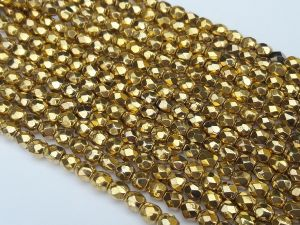 Czech glass 4mm gold faseted (97pcs)
