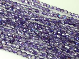 Czech faceted glass 4mm AB-lilac (101pcs)