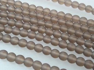 Czech glass bead 4mm matte smokey brown (107 pcs)