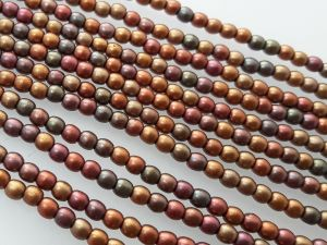 Czech glass bead 3mm matte multicolor metallic (139pcs)