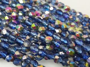 Czech faceted glass 4mm AB-blue (101pcs)