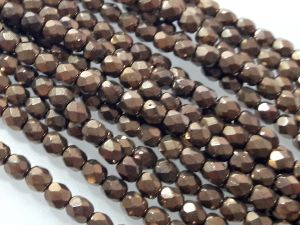 Czech faceted glass 4mm dark bronze (98pcs)