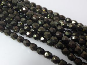 Czech faceted glass 4mm metallic dark green (98pcs)