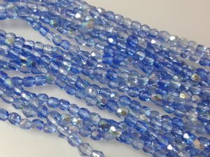 Czech faceted glass 4mm AB-light blue (99pcs)