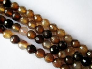 Agate brown faceted 6mm